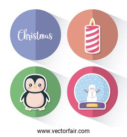 penguin with set icons of christmas