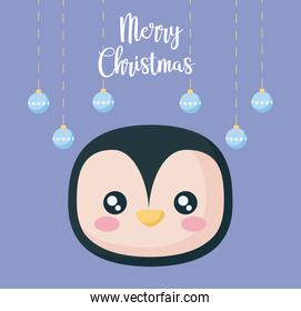 head of penguin with balls of christmas