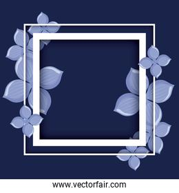 frame with tropical leafs decorative
