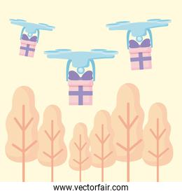 delivery service drone flying with gift boxes