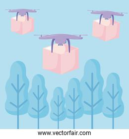 delivery service drone flying and drones with boxes