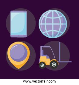 delivery service forklift with set icons