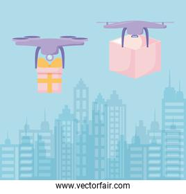 delivery service drone flying with boxes