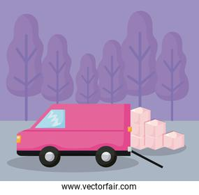 delivery service van car with boxes