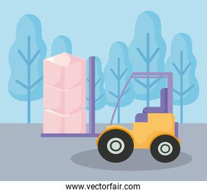 delivery service forklift with boxes in landscape
