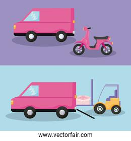 delivery service van car with forklift and motorcycle