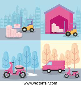 delivery service motorcycle with forklift and van car
