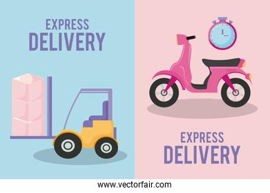 delivery service motorcycle with forklift