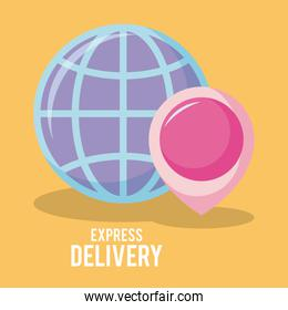 delivery service sphere planet with pin location