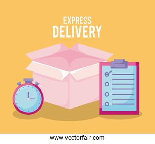 delivery service with box and set icons