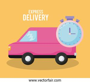 delivery service van car with chronometer