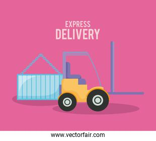 delivery service forklift with container