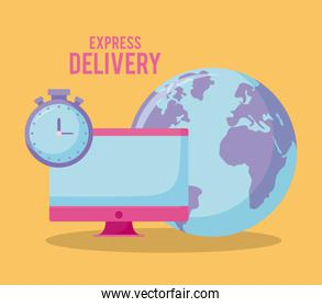 delivery service with planet earth and set icons