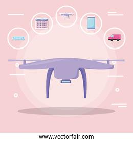 drone tech with delivery service icons