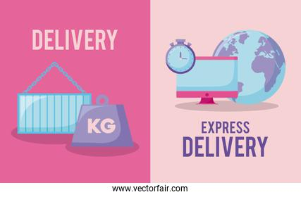 delivery service with kilogram and set icons