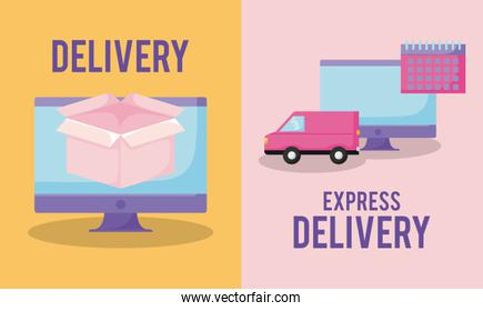 delivery service with monitor computer and set icons