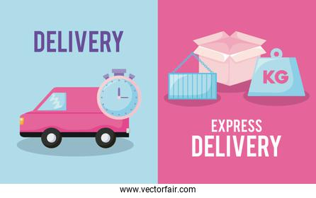 delivery service with van car and set icons