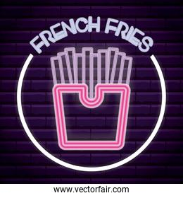 french fries neon light label