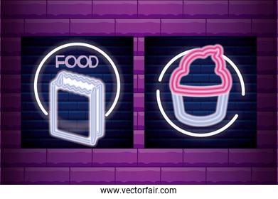 set bag paper for food and cupcake neon light label