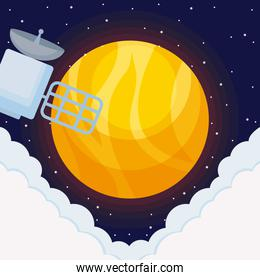 sun universe with satellite space