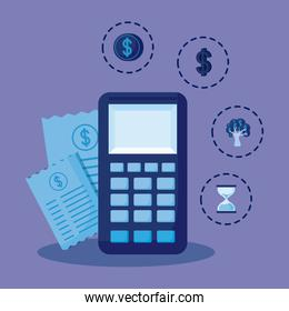 calculator with set icons economy finance