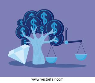 coins tree with set icons economy finance