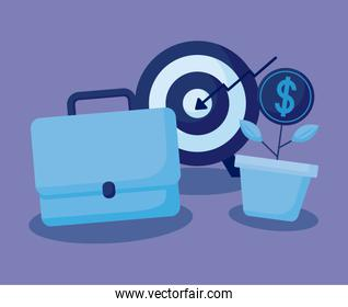 target with set icons economy finance