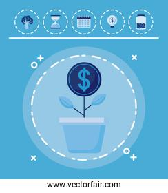 plant coins with set icons economy finance
