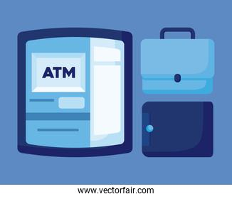 wallet money with portfolio and atm