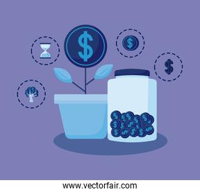 plant coin with set icons economy finance