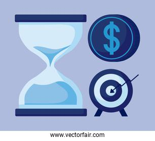hourglass with set icons economy finance