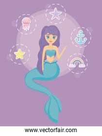 cute siren with set icons