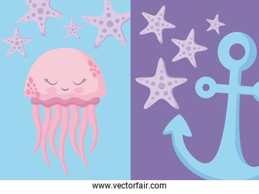 set cute octopus with starfish and anchor