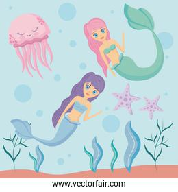 cute sirens with octopus and starfish undersea