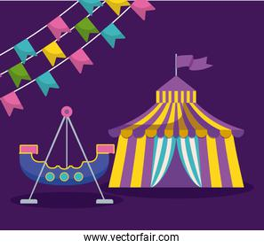 circus tent with garlands and pirate ship