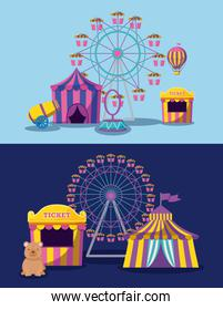amusement park with tents circus and icons