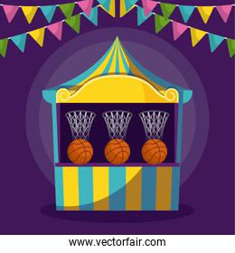circus tent of games and garlands