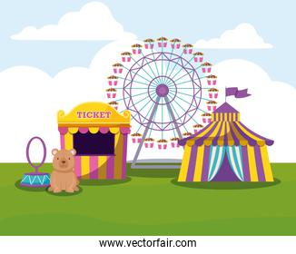 circus tent with wheel panoramic and cute bear