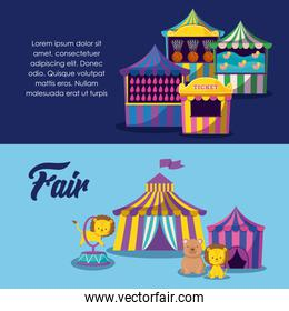 circus tents with cute animals