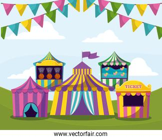circus tents with garlands isolated icon