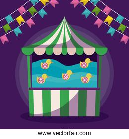 circus tent game with garlands isolated icon
