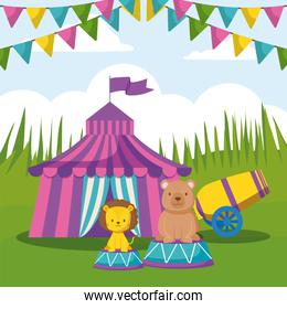 circus tent with garlands and cute animals