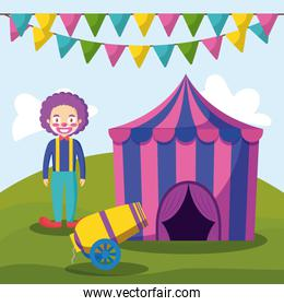 circus tent with clown and cannon