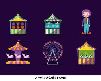 carnival celebration set icons