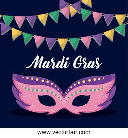 mardi gras card with mask
