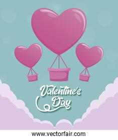 valentines day card with balloons air hot