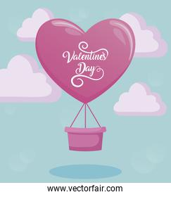 valentines day card with balloon air hot