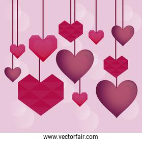 valentines day card with hearts hanging
