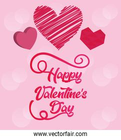 set of valentines day card with hearts