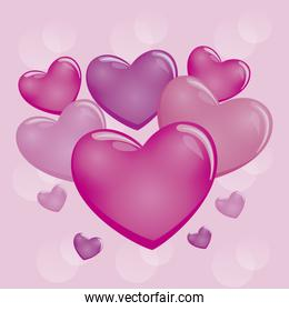 set of hearts and valentines day card